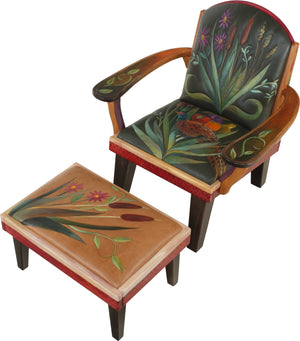 Friedrich's Chair and Matching Ottoman –  Friedrich's chair with ottoman with pheasant and floral motif