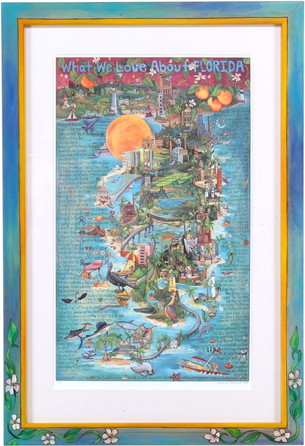 "Framed WWLA Florida Lithograph –  ""What We Love About Florida"" litho print in handcrafted Sticks frame"