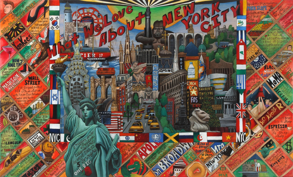 "WWLA NYC Lithograph –  ""What We Love About New York City"" lithograph with beautiful scene of NYC motif"
