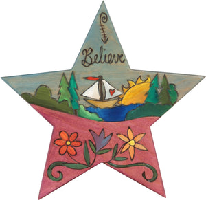 "Star Shaped Plaque –  ""Believe"" star shaped plaque with sailboat and floral motifs"
