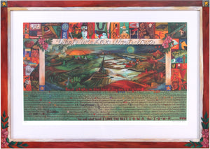 "Framed WWLA Iowa Lithograph 2006 Edition –  ""What We Love About Iowa"" litho print in a handcrafted Sticks frame"