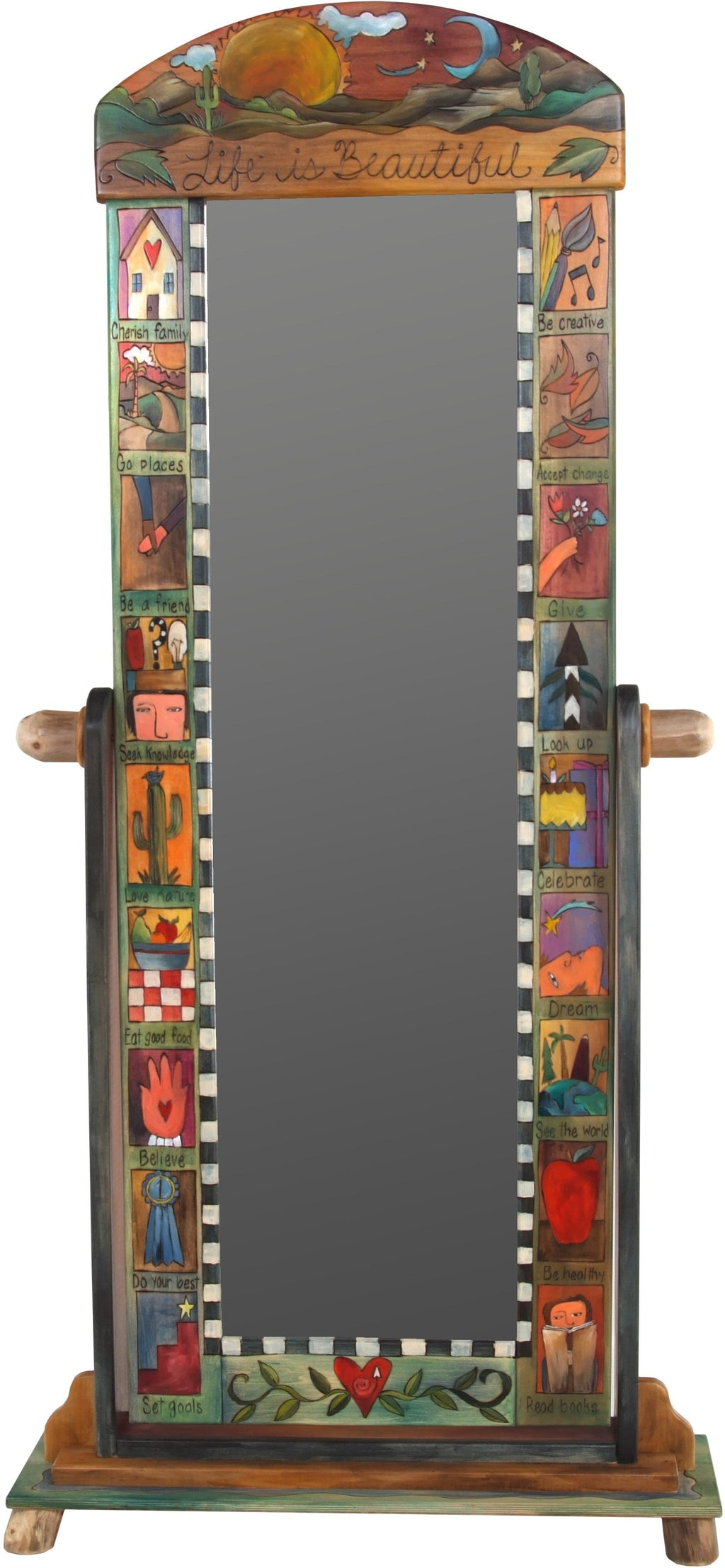 "Wardrobe Mirror on Stand –  ""Life is Beautiful"" mirror on stand with sun and moon over the rolling hills motif"