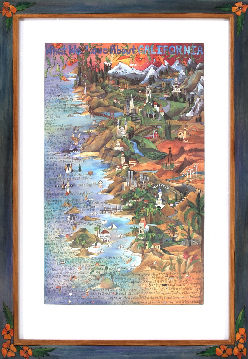 "Framed WWLA California Lithograph –  ""What We Love About California"" litho print in a handcrafted Sticks frame"