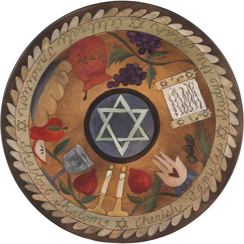 "Sticks Handmade 20""D lazy susan with judaica icons and star of david in the center"