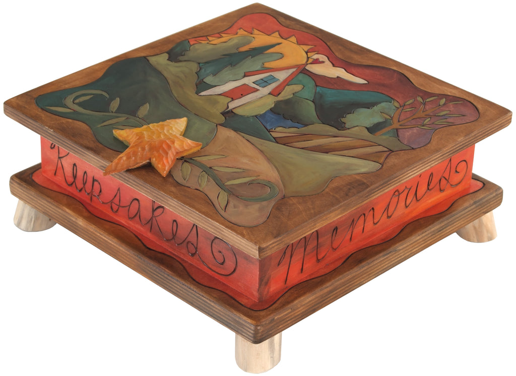 "Keepsake Box – Beautiful warm-toned ""my favorite things"" landscape box motif"