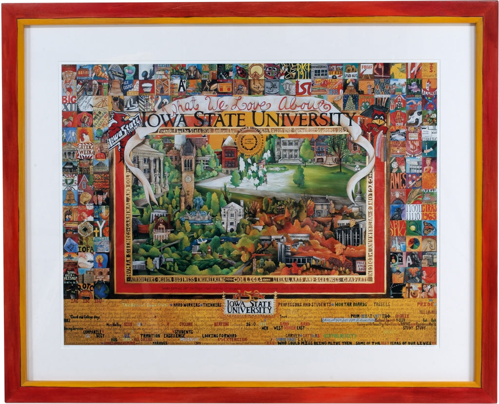 "Framed WWLA Iowa State University Lithograph –  ""What We Love About Iowa State University"" litho print in a handcrafted Sticks frame"