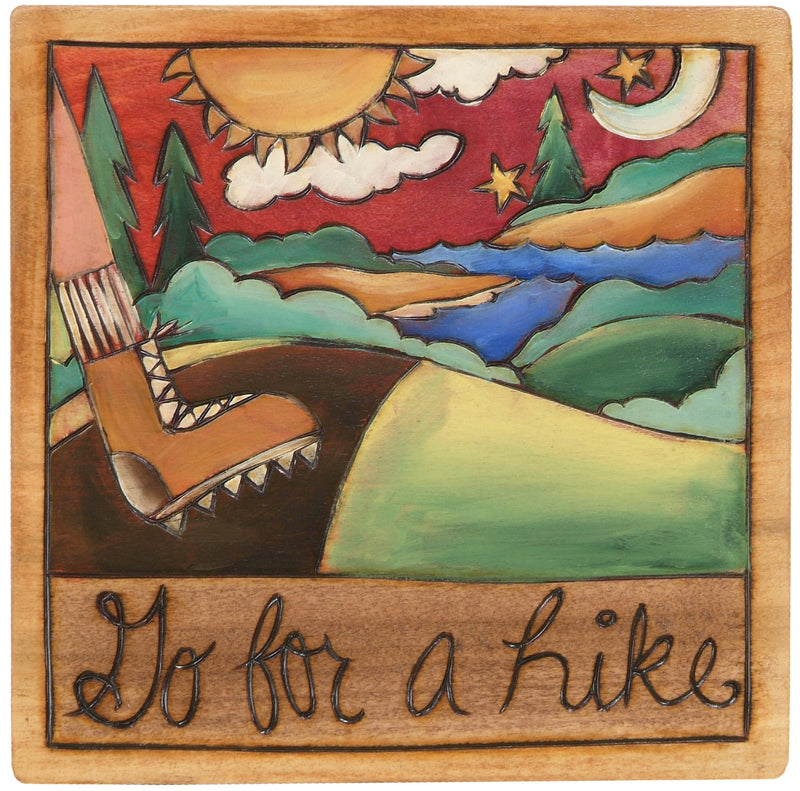 "7""x7"" Plaque –  ""Go for a hike"" at your favorite lake"