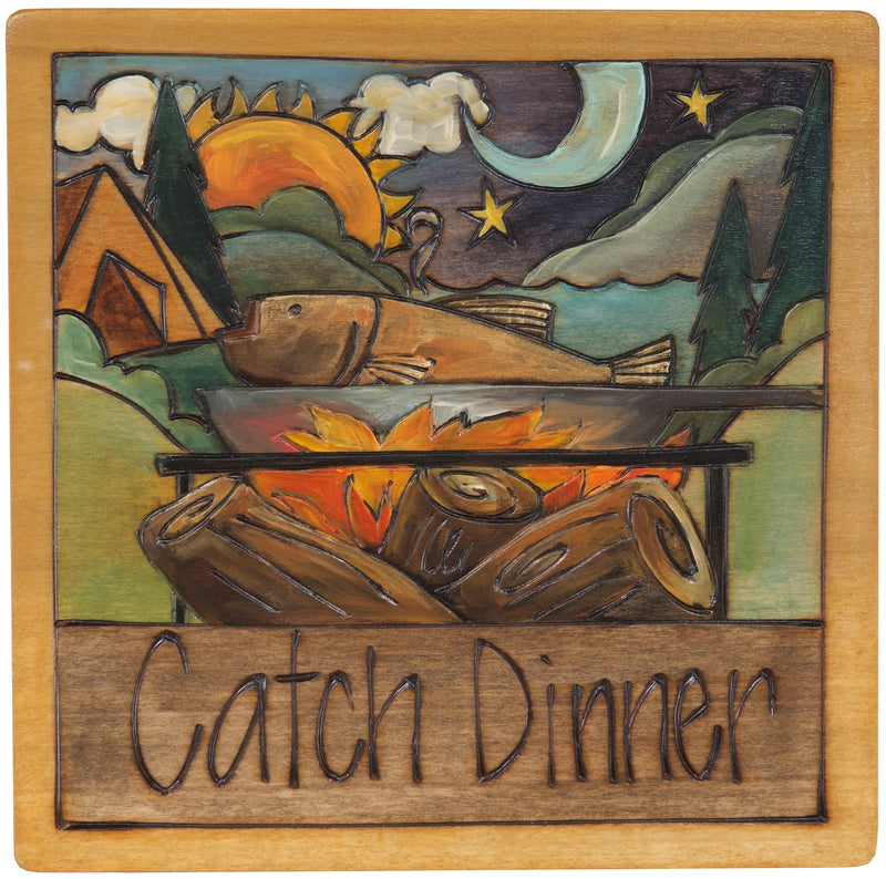 "7""x7"" Plaque –  ""Catch dinner"" lake fishing design"