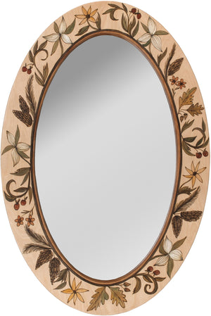 Oval Mirror –  Neutral floral mirror with beautiful seasonal foliage