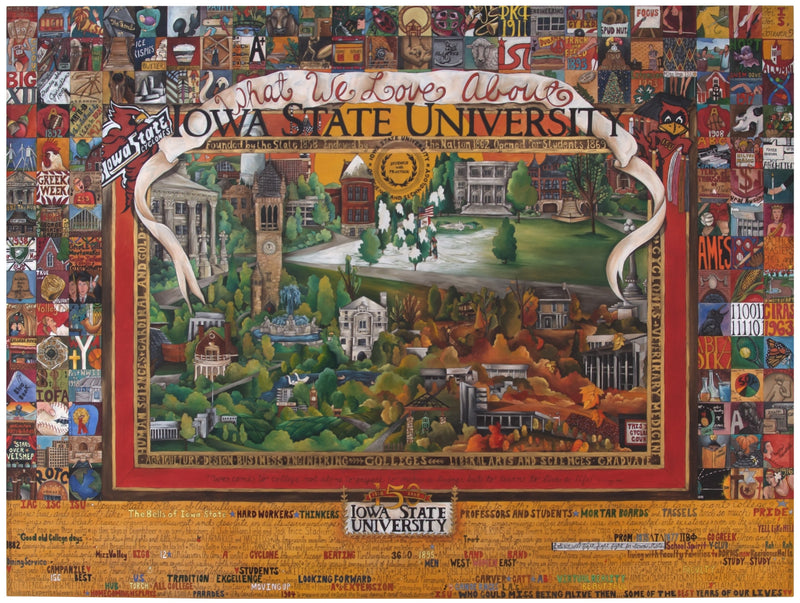 "WWLA Iowa State University Poster –  ""What We Love About Iowa State University"" poster with beautiful scenes of campus in all four seasons motif"