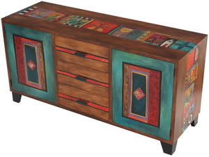 Large Buffet –  Pop of Red credenza buffet with nature motif