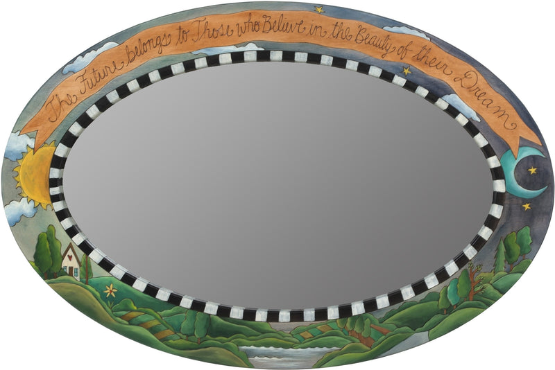 "Oval Mirror –  ""The Future belongs to those who Believe in the Beauty of their Dream"" landscape, sun, moon, and sky mirror"