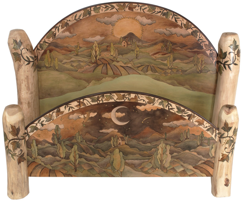 Queen Bed –  Earth tone queen bed with rolling hills landscape accompanied by grape vines motif