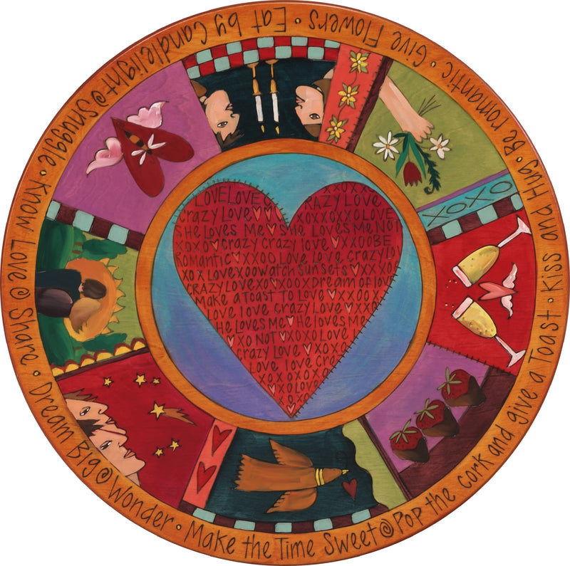 "Sticks Handmade 20""D lazy susan with heart and love relationship theme"
