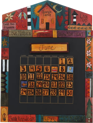 Small Perpetual Calendar –  Beautiful small calendar painted in rich and vibrant hues