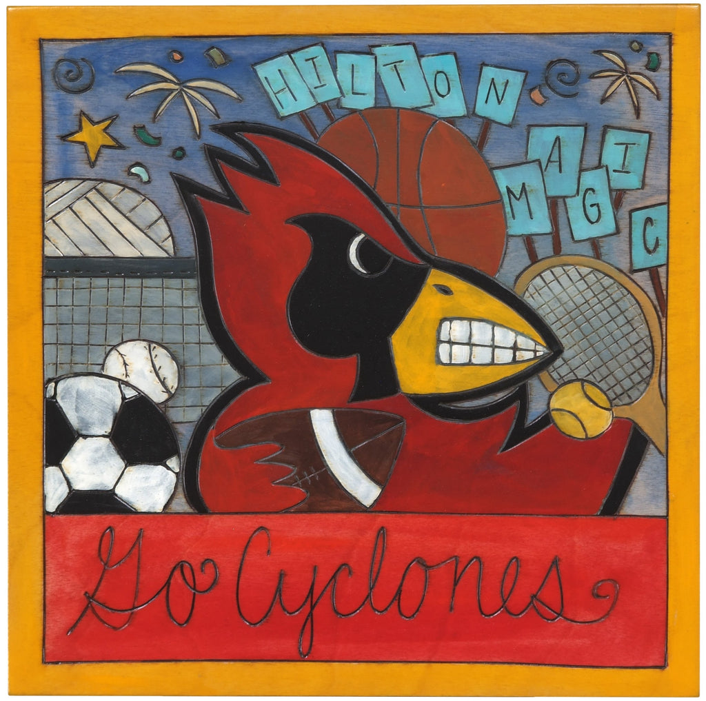 "Iowa State 10""x10"" Plaque –  Hilton Magic plaque featuring Cy honoring Iowa State University, ""Go Cyclones"""
