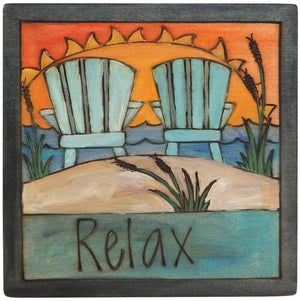 "7""x7"" Plaque –  A beachy sunset ""relax"" themed plaque"