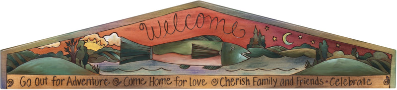 "Door Topper –  ""Welcome"" door topper with painted landscape and fish at center"