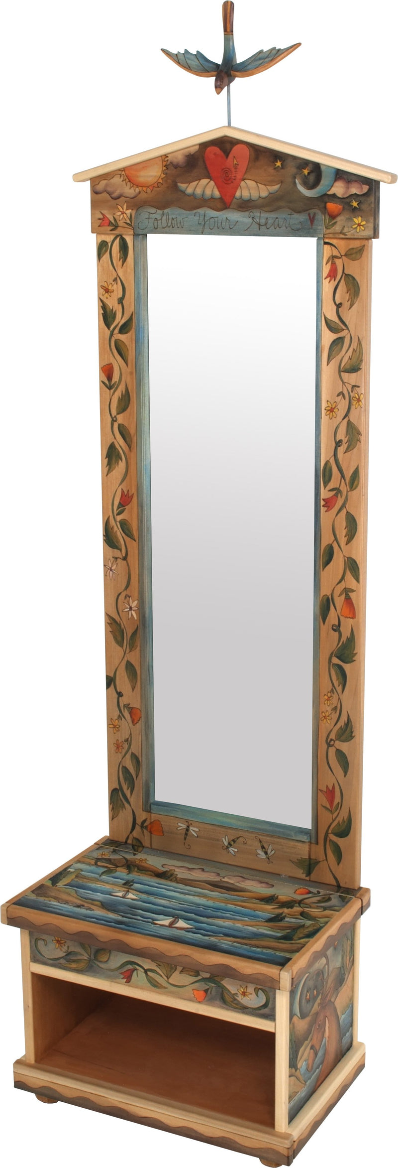 "Hall Tree –  Beautiful folk art hall tree with mirror and storage bench featuring a coastal landscape and vine motifs, ""Follow Your Heart"""