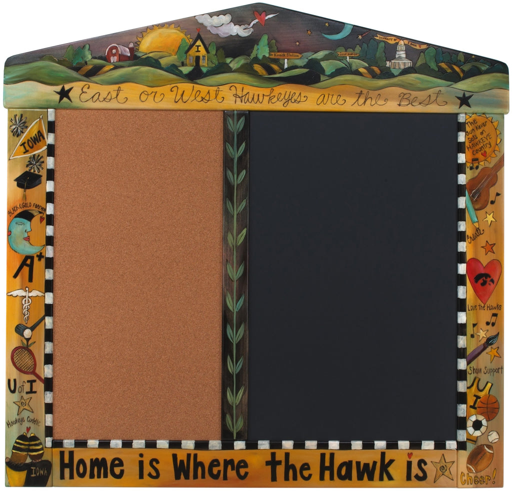 "University of Iowa Large Activity Board –  Elegant and fully functional cork and chalk board, ""Home is Where the Hawk is"""