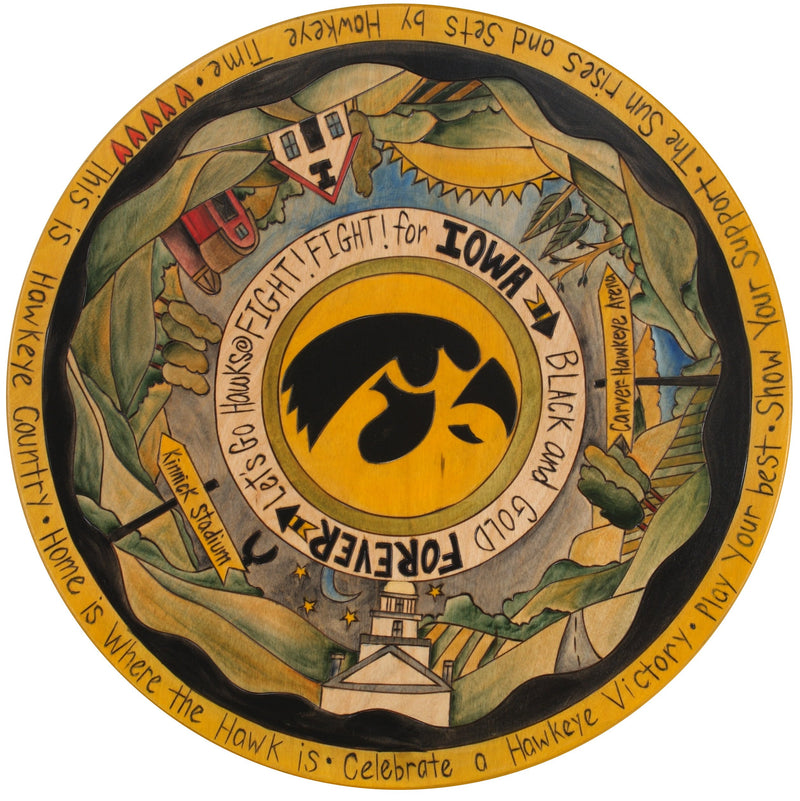 "University of Iowa 20"" Lazy Susan –  Handsomely handcrafted lazy susan honoring the University of Iowa"