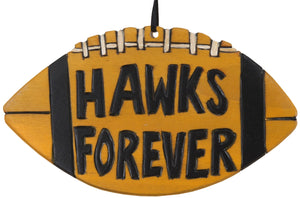 "University of Iowa Ornament –  Adorable football ornament honoring U of I, ""Hawks Forever"""