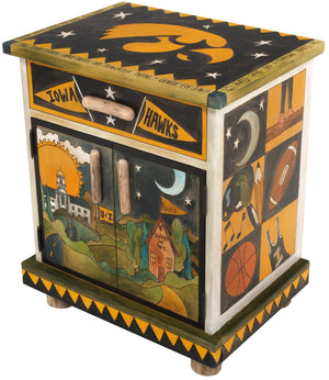 University of Iowa Nightstand Cabinet –  Handsome nightstand honoring the University of Iowa Hawkeyes