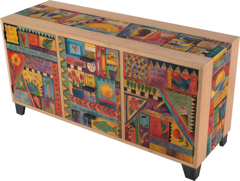 "Credenza Buffet –  ""Live by the Sun/Love by the Moon"" credenza buffet with colorful sayings motif"