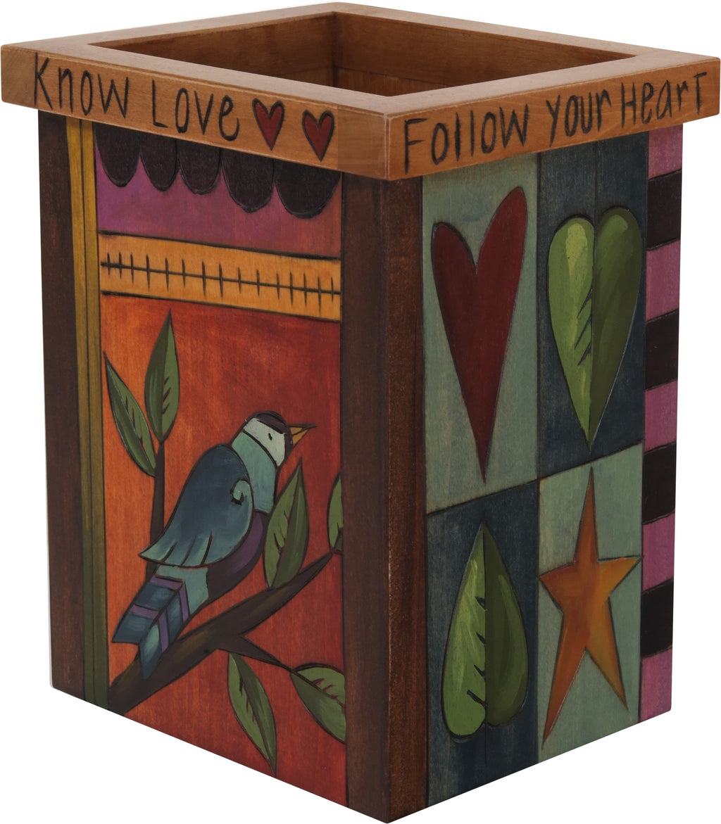 "Vase/Utensil Box – ""Know love"" crazy quilt design in a warm, classic palette"