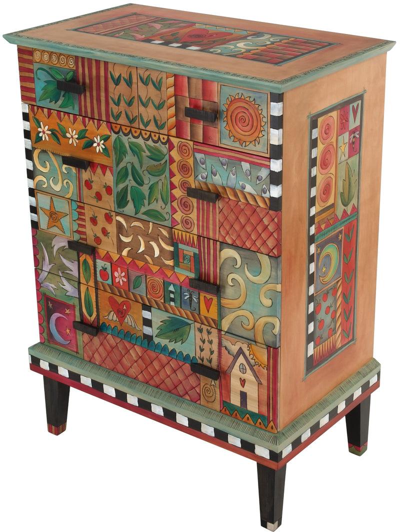 Tall Dresser –  Eclectic and colorful tall dresser with lovely romantic scrolling patterns throughout