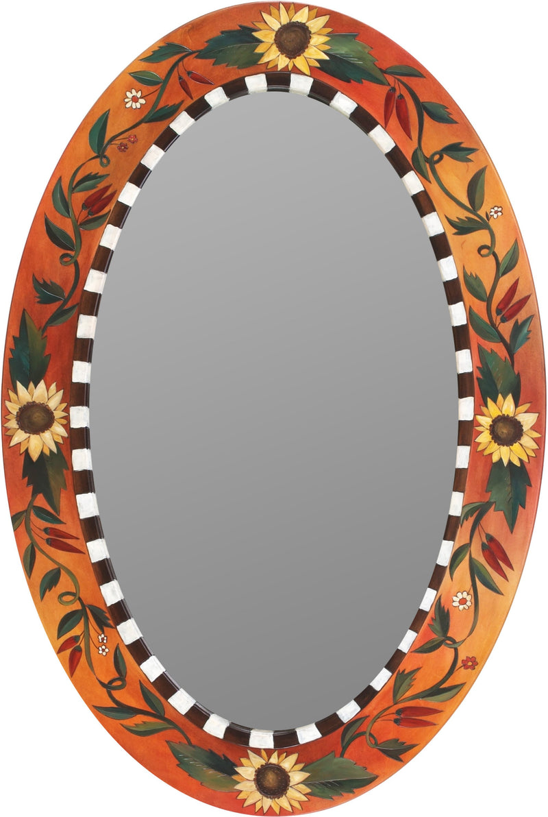 Oval Mirror –  Sunflower and vines motif mirror in rich hues