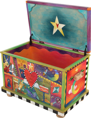 "Chest –  ""My stuff"" chest with vibrant crazy quilt motif"