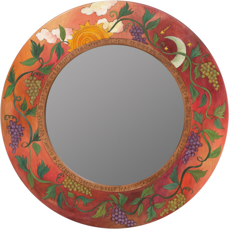 Large Circle Mirror –  Rosy and beautiful pastel round mirror with winding grape vines and sun and moon motif