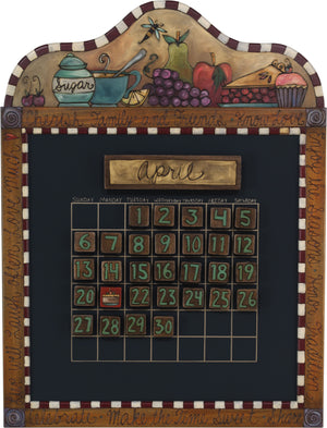 Small Perpetual Calendar –  Lovely perpetual calendar with kitchen and food motif
