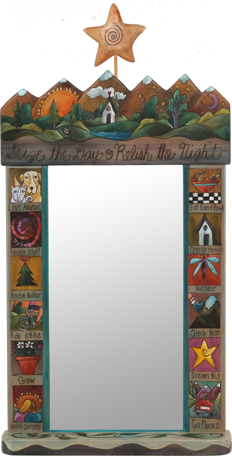 "Large Mirror –  ""Seize the Day/Relish the Night"" mirror with sun and moon on the horizon with home motif"