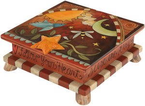 Keepsake Box – Elegant celestial lid design with a bird and bee floating among the sun and moon