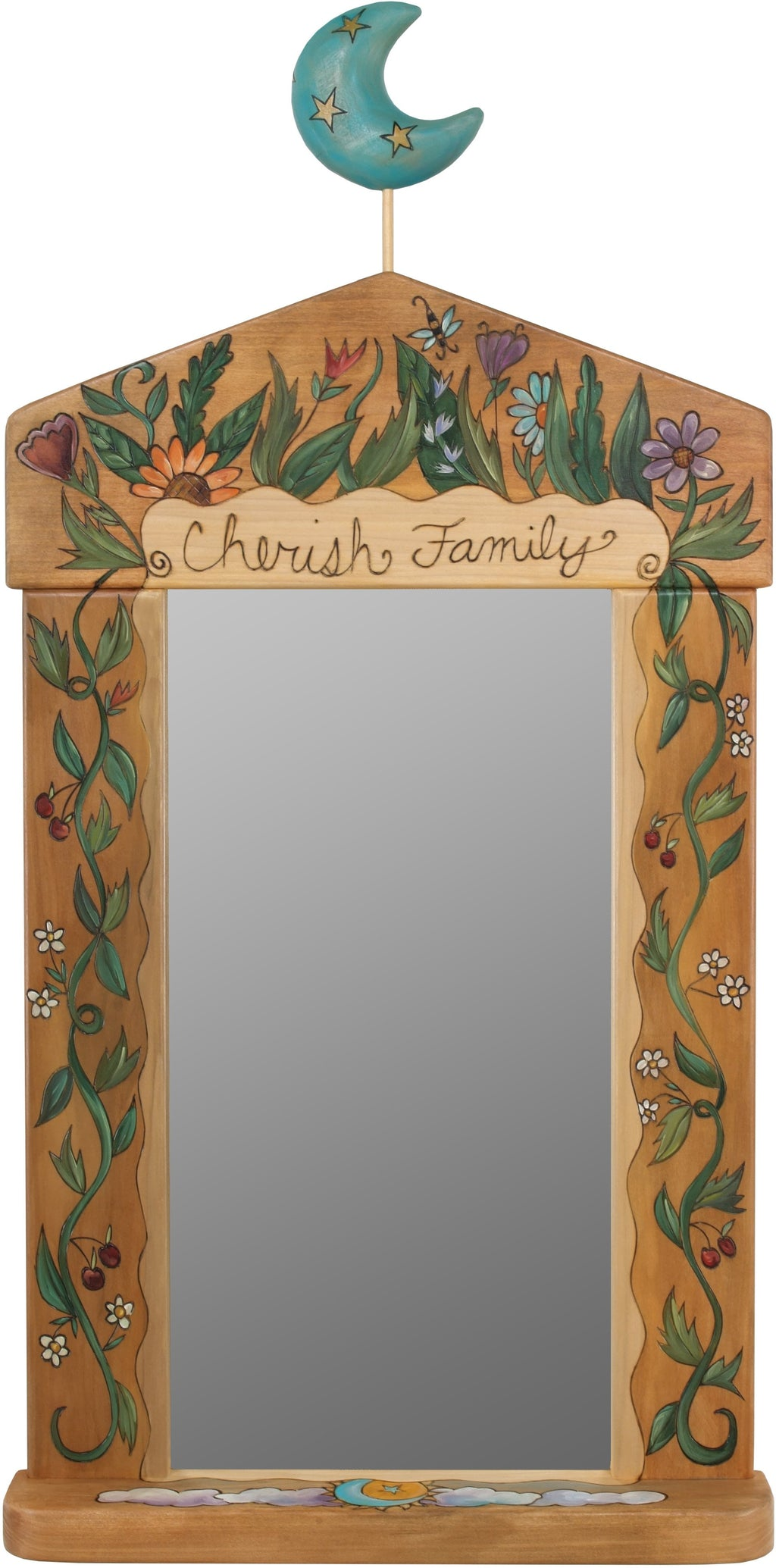 "Large Mirror –  ""Cherish Family"" mirror with floral motif and moon"