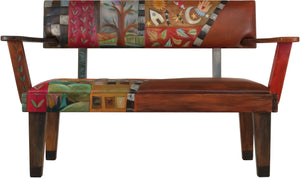 Loveseat with Leather Seat –  Beautiful loveseat with hand stitched colorful block icons and landscapes