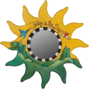 "Sun Shaped Mirror –  ""Today is the Day"" sun-shaped mirror with bird flying over the green woods motif"