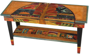 Sticks handmade 5' sofa table with tree of life and colorful folk art icons