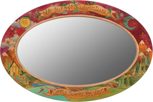 "Oval Mirror –  ""Go out for Adventure, Come Home for Love,"" oval mirror with landscapes, sun, moon and stars"