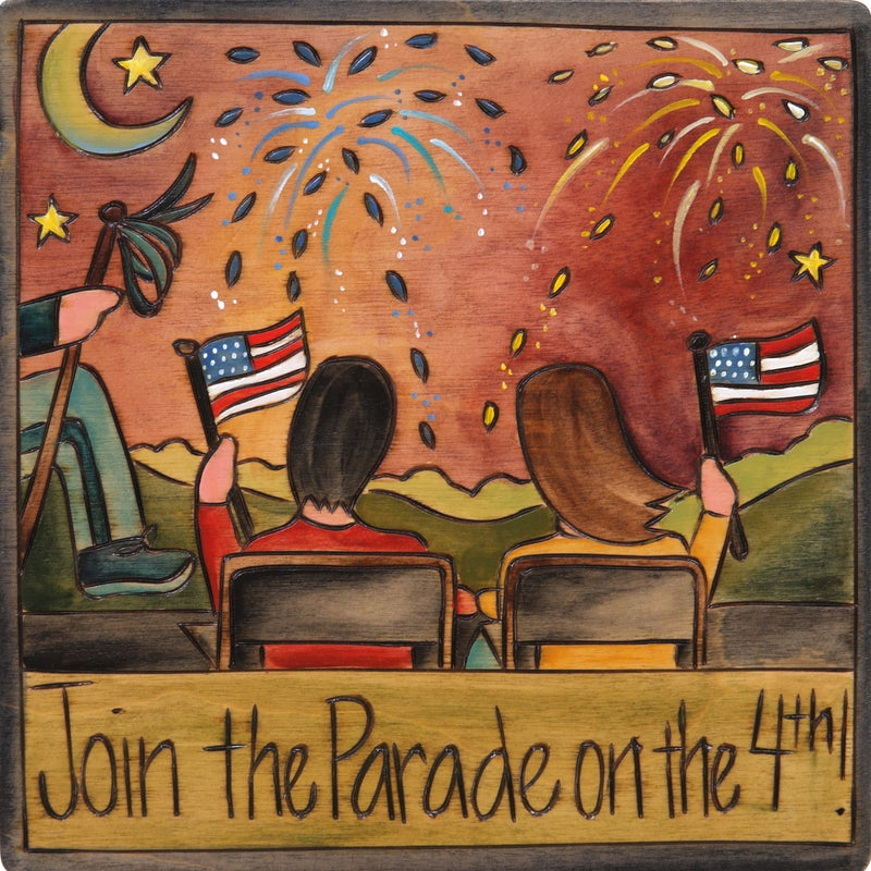 """Join the parade on the 4th!"" patriotic event plaque"