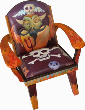 "Friedrich's Chair –  ""I need a miracle every day"" fiery devil themed chair front view"
