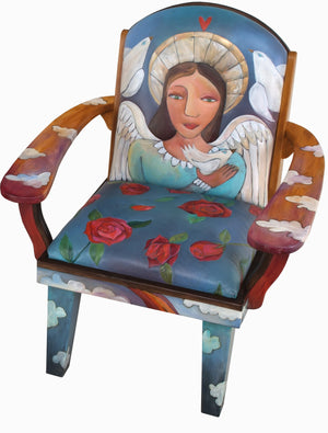 "Friedrich's Chair –  ""I know I'm no angel"" heavenly blue angel themed chair front view"