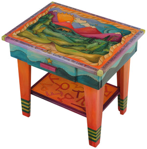 Nightstand with Open Shelf –  Colorful nightstand with rolling mountains and symbols motif