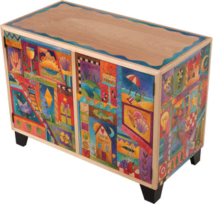 Media Buffet –  Vibrant contemporary folk art media cabinet with coastal and beach themes
