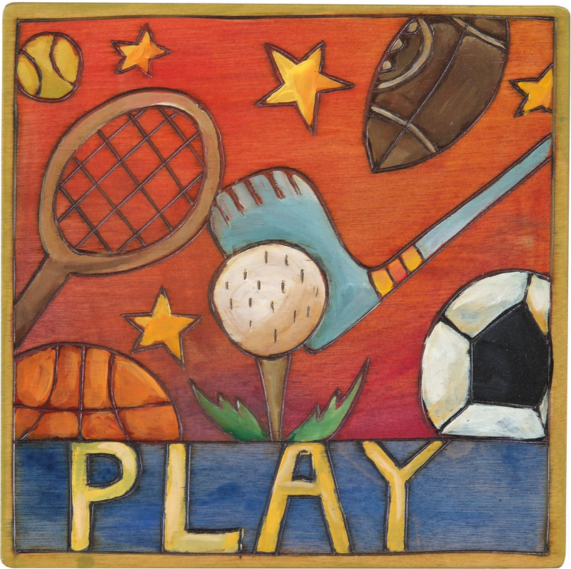 "7""x7"" Plaque –  ""Play"" sports and activities motif"