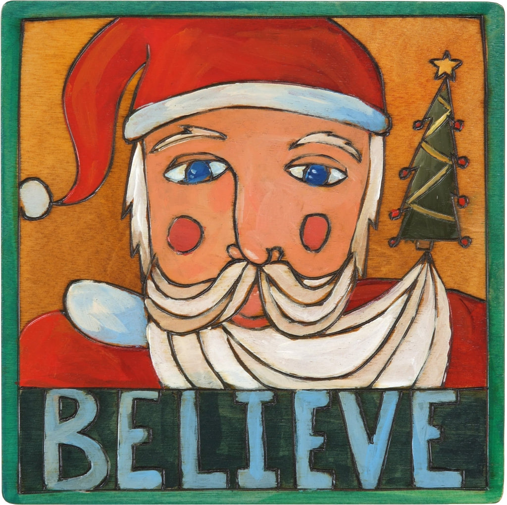 "7""x7"" Plaque –  ""Believe"" plaque with Santa Claus and Christmas tree motif"