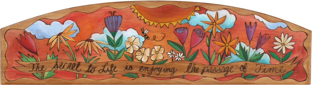 "Door Topper –  ""The Secret of Life is Enjoying the Passage of Time,"" floral themed door topper with sun at the center"