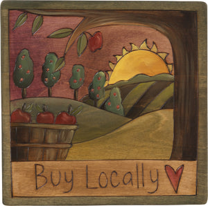 "7""x7"" Plaque –  ""Buy locally"" apple orchard plaque"